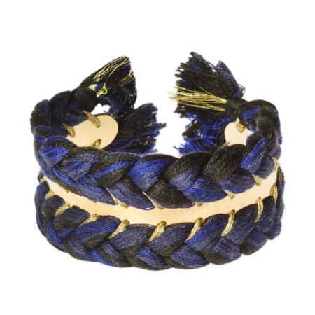 AURELIE BIDERMANN   Bracelete Aurelie Bidermann Metal Trançado Azul e Dourado