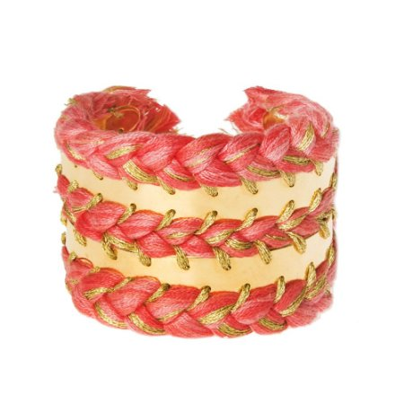 ADRIANA BARROS | Bracelete Adriana Barros Metal Trançado Rosa e Dourado
