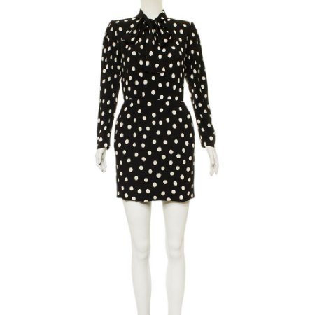 YVES SAINT LAURENT   Vestido Yves Saint Laurent Viscose Poá Preto e Branco