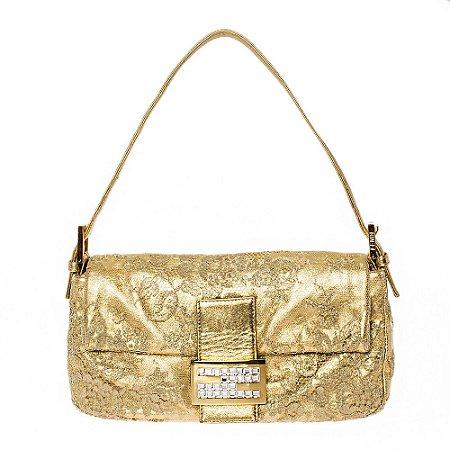 FENDI | Bolsa Fendi Baguette Renda Dourada