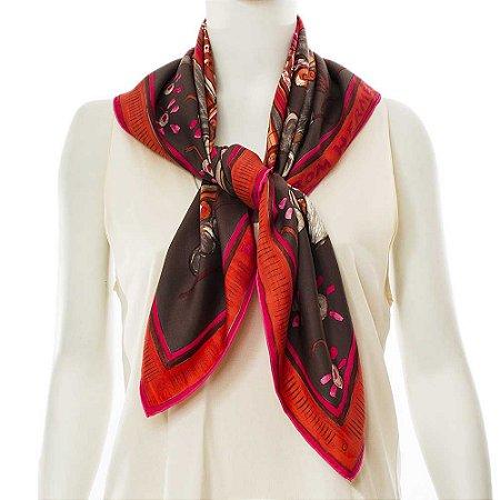 HERMÈS | Lenço Hermès Seda Marrom e Pink
