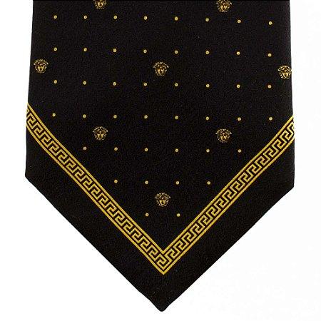 VERSACE | Gravata Versace Seda Preta e Dourada