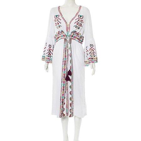 FIGUE | Vestido Figue Algodão Bordado Branco