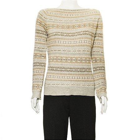 LAUREN | Pullover Lauren Lã Cinza e Dourado
