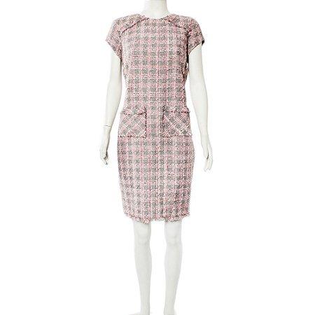 ALMA | Vestido Alma Tweed Rosa e Cinza
