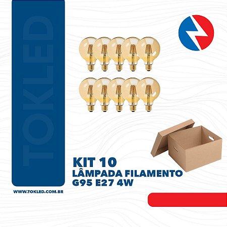 Kit 10 Lâmpadas Filamento G95 E27 4W