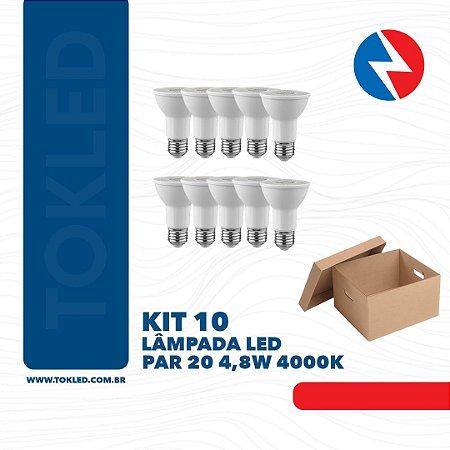 Kit 10 Lâmpadas Led Par 20 4,8W 4000K