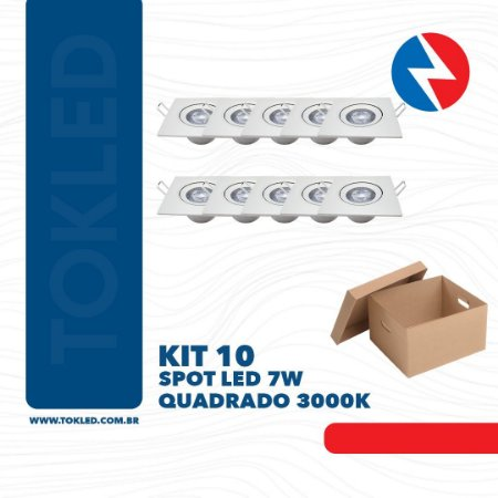 Kit 10 Spots Led 7W Quadrado 3000K