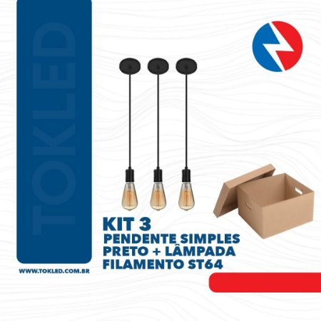 KIT 3 PENDENTES PRETO + LAMPADA ST64