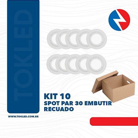 Kit 10 Spots Embutir Par 30 Redondo Recuado Branco