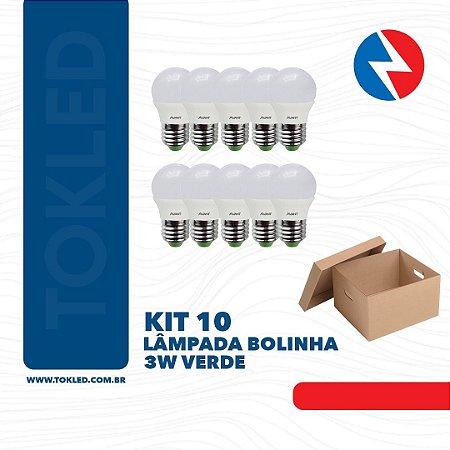 Kit 10 Lâmpadas Bolinha 4W Verde