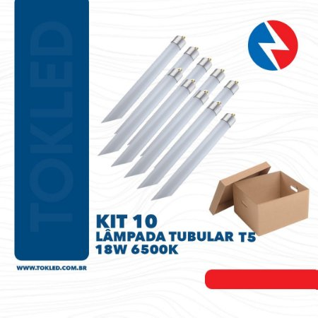 Kit 10 Lâmpadas Led Tubular T5 18W 6500K