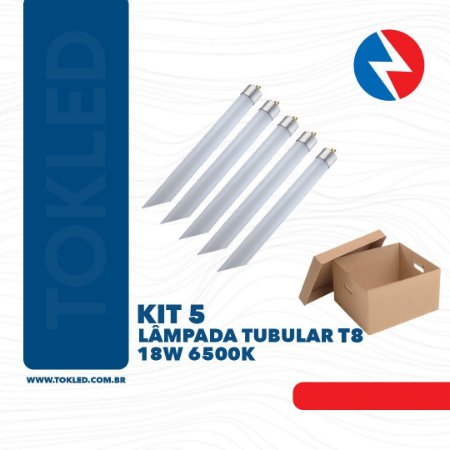 Kit 5 Lâmpadas Led Tubular 18W 6500K