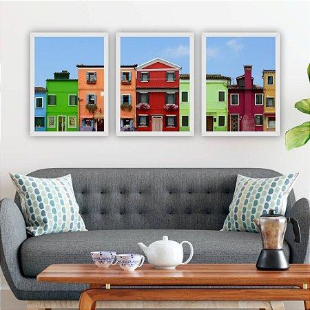 Conjunto de 3 Quadros Casas Coloridas