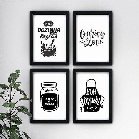 Conjunto de 4 Quadrinhos Cozinha Preto e Branco