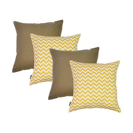 Capas de Almofadas Amarelas e Marrom