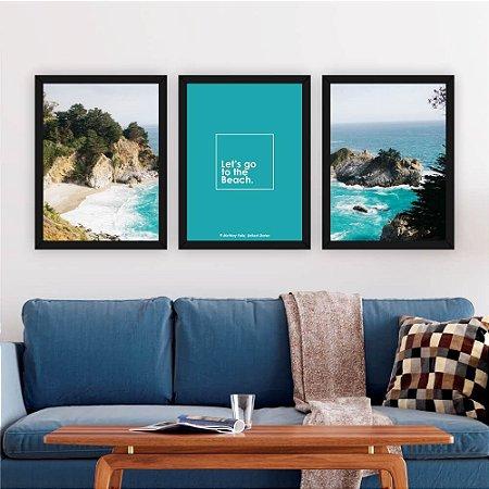Conjunto 3 Quadros Decorativos Praia