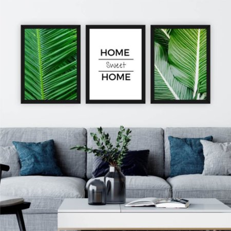 Conjunto 3 Quadros Home Sweet Home