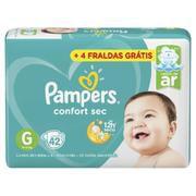 Fralda Pampers Confort Sec Tam G (9-13 Kg) 42 Fraldas + 4 fraldas Grátis