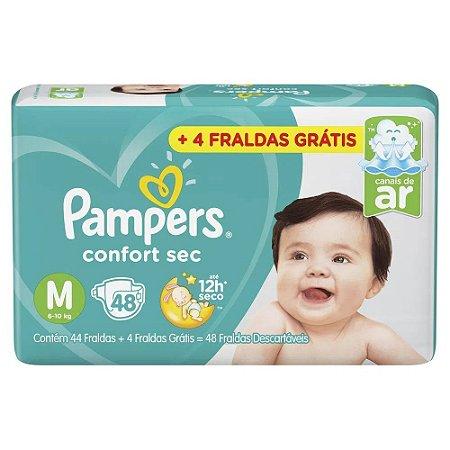 Fralda Pampers Confort Sec Tam M (6-10 Kg) 44 Fraldas + 4 fraldas grátis