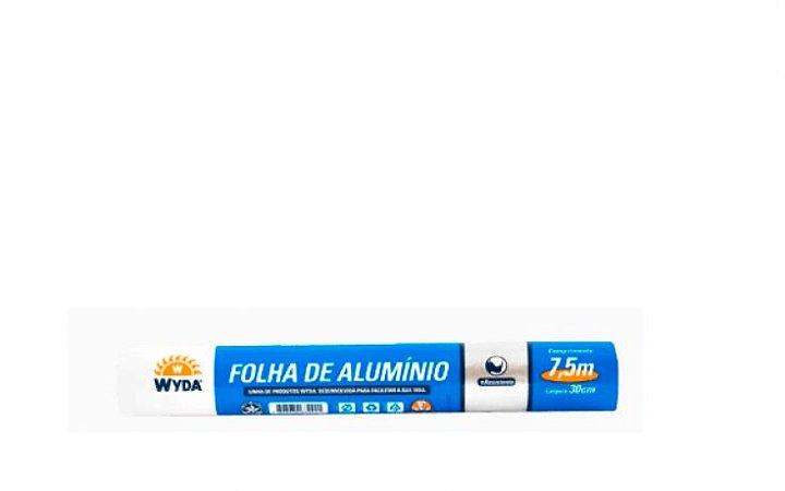 Folha de Papel Alumínio WYDA 30cm de largura por 7,5m de comprimento