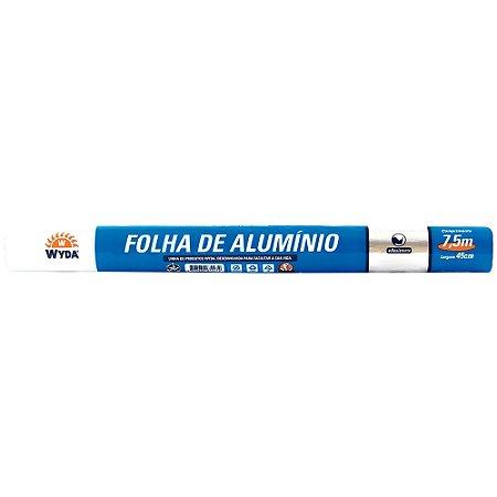 Folha de Papel Alumínio WYDA 45cm de largura por 7,5m de comprimento