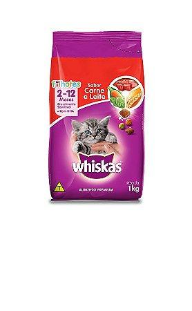 Ração Gato Filhotes de 2 - 12 Meses sabor Carne e Leite Whiskas 1Kg