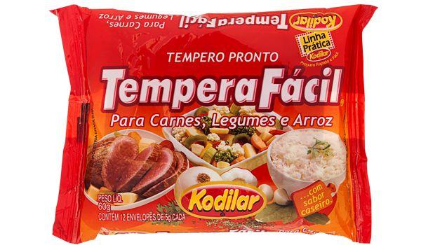 Tempero Pronto Tempera Fácil para Carnes, Legumes e Arroz - Kodilar 60g com 12 env. de 5g cada