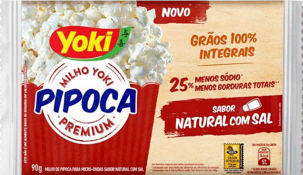 Pipoca Micro-ondas Yoki 25% menos Gorduras Totais 0% sódio Sabor Natural C/ Sal 90g