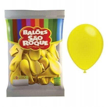 Balões Amarelo Citrino Folha São Roque nº7 embalagem com 50 unid