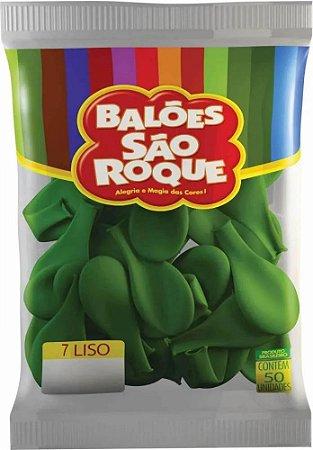 Balões Verde Folha São Roque nº7 embalagem com 50 unid
