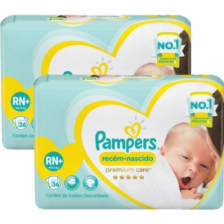 Fralda Pampers Recém-Nascido Premium Care RN 36-Unidades