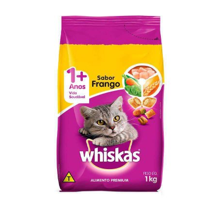 Ração Gato Adulto de 1+ Anos Sabor Frango Whiskas 1kg