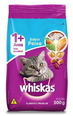 Ração Gato Adulto de 1+ Anos Sabor Peixes Whiskas 500g
