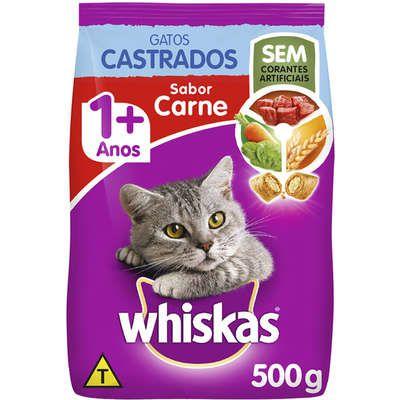 Ração Gato Adulto Cadastro de 1+ Anos sabor Carne Whiskas 500Kg