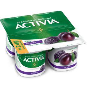 Activia Ameixa Com Frutas Naturais 400g Bandeja com 4