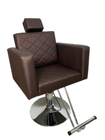 Cadeira Poltrona De Cabeleireiro Marrom Hidráulica Encosto Com Regulagem Base Cromada