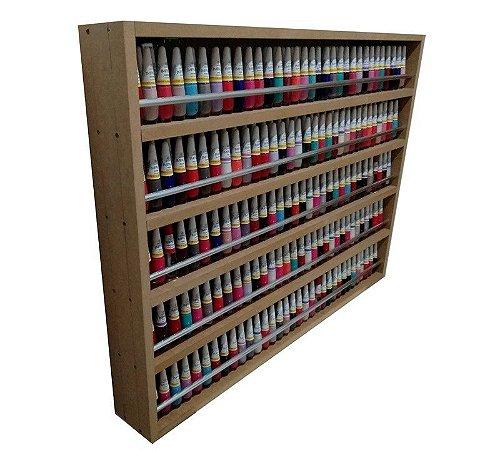 Expositor De Esmaltes C/barra De Alumínio P/ Até 480 esmaltes 80X60X10 MDF cru