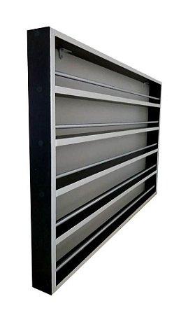 Expositor De Esmaltes MDF PRETO C/barra De Alumínio -p/200esmaltes 94x60x6