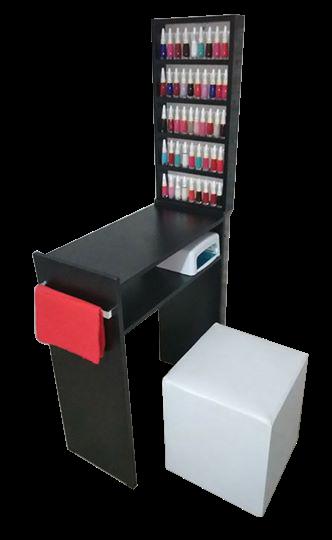 KIT Manicure Mesa 60cm c/ prateleira e alças+expositor de esmaltes MDF TODO PRETO