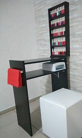 KIT Manicure Mesa 80cm c/ prateleira e alças+expositor de esmaltes MDF TODO PRETO