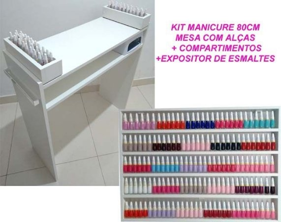 Kit Mesa Manicure  80cm + Expositor de esmaltes 80cm + 1 Compartimento de mesa
