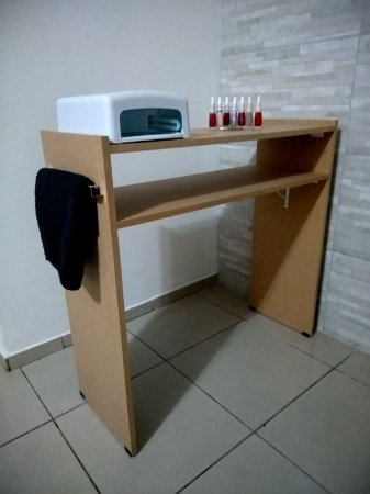 Mesa P/ Manicure 80cm C/prateleira p/estufa  Mdf Cru
