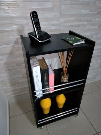 Mesinha de canto lateral apoio p/Telefone/livro/enfeites/revistas Mdf Preto
