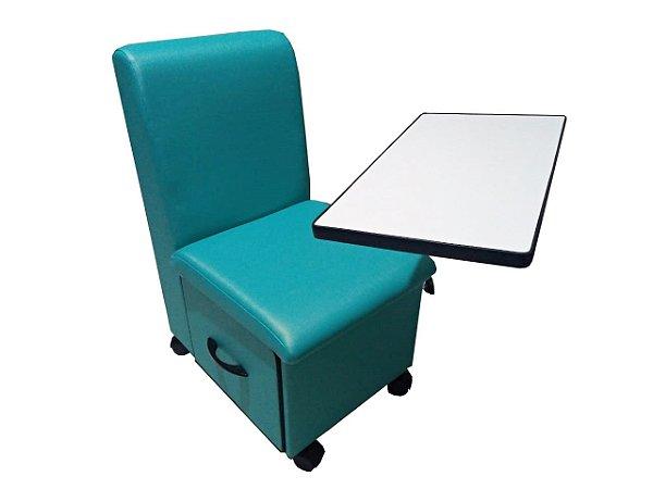 Cadeira Cirandinha Manicure Azul Tifany Com Gaveta