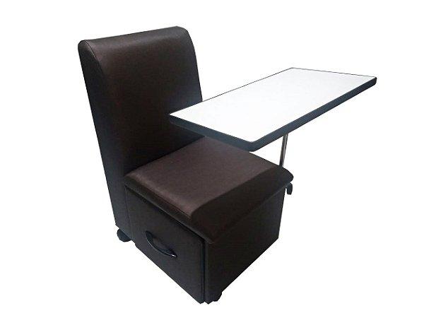 Cadeira Cirandinha Para manicure COM GAVETA Factor Marrom