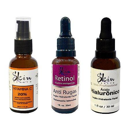 Kit Sérum Vitamina C + Retinol + Ácido Hialurônico