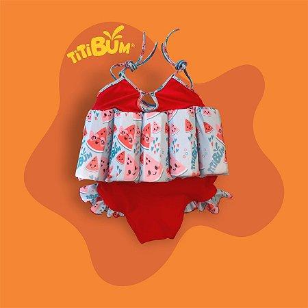 Maio flutuante - vermelho melancia - alcinha regulável - menina