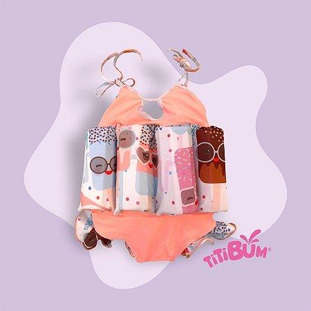 Maio flutuante - rosa claro picolé - alcinha - menina