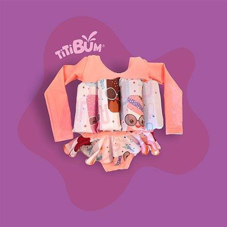 Maio flutuante - rosa claro picolé - com manga UV - menina